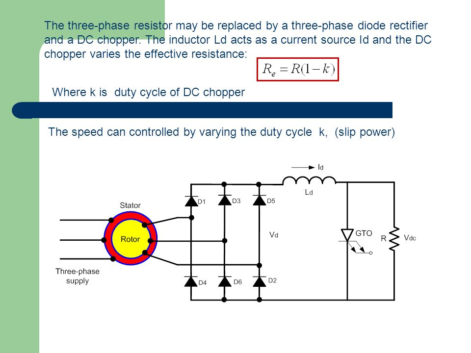 The three-phase resistor may be replaced by a three-phase diode rectifier and a DC chopper. The inductor Ld acts as a current source Id and the DC cho