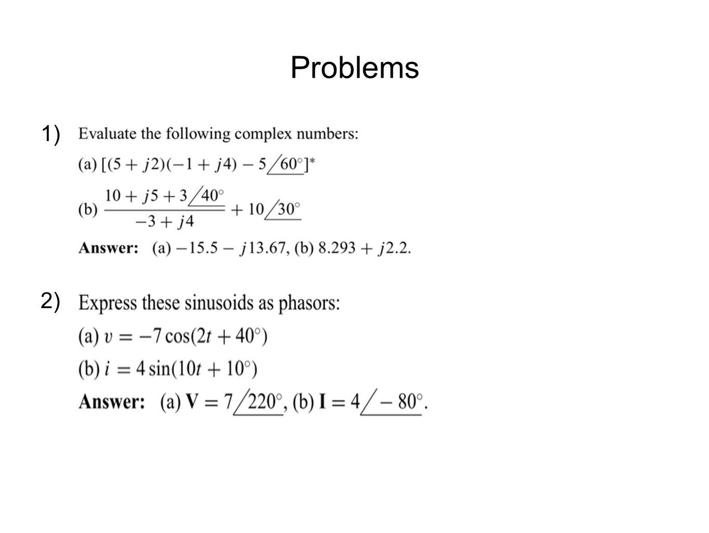 Problems 1) 2)
