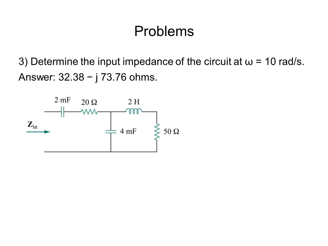 Problems 3) Determine the input impedance of the circuit at ω = 10 rad/s.