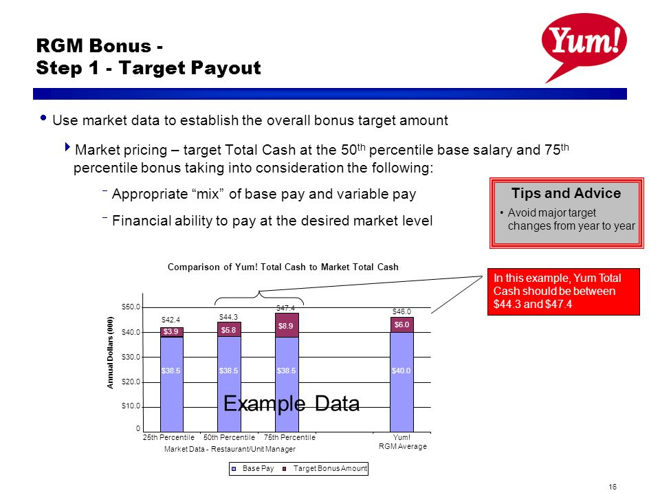16 RGM Bonus - Step 1 - Target Payout Use market data to establish the overall bonus target amount Market pricing – target Total Cash at the 50 th percentile base salary and 75 th percentile bonus taking into consideration the following: Appropriate mix of base pay and variable pay Financial ability to pay at the desired market level Tips and Advice Avoid major target changes from year to year Comparison of Yum.