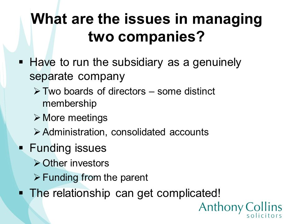 What are the issues in managing two companies? Have to run the subsidiary as a genuinely separate company Two boards of directors – some distinct memb