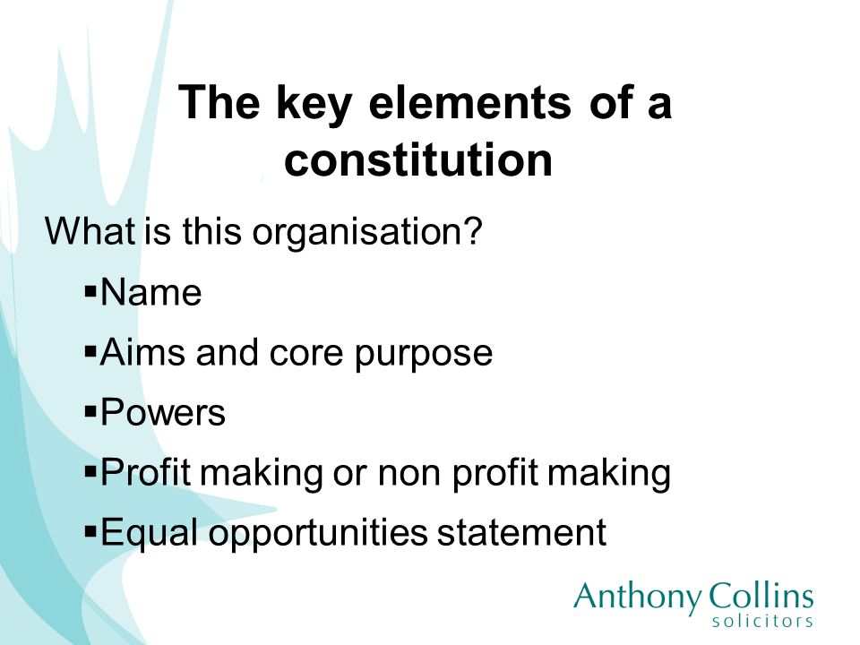 The key elements of a constitution What is this organisation? Name Aims and core purpose Powers Profit making or non profit making Equal opportunities