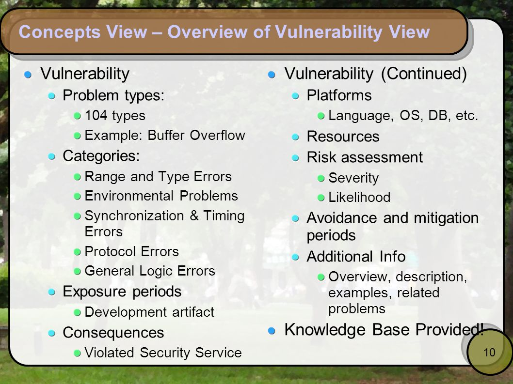 10 Concepts View – Overview of Vulnerability View Vulnerability Problem types: 104 types Example: Buffer Overflow Categories: Range and Type Errors En