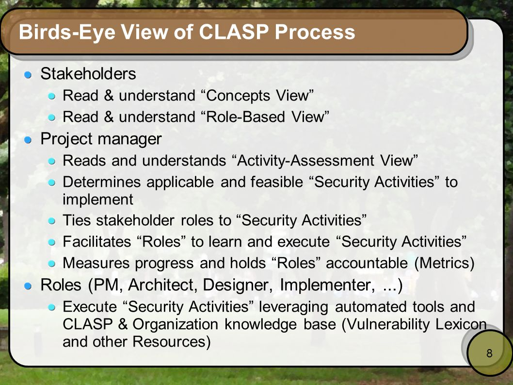 8 Birds-Eye View of CLASP Process Stakeholders Read & understand Concepts View Read & understand Role-Based View Project manager Reads and understands