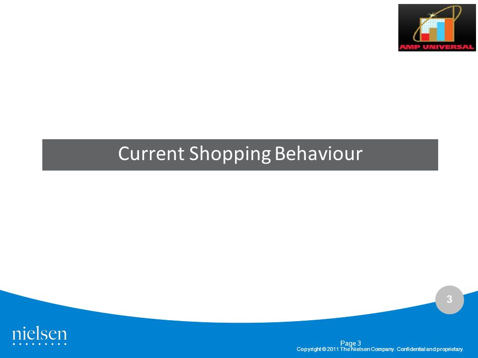 3 Copyright © 2011 The Nielsen Company. Confidential and proprietary. Current Shopping Behaviour Page 3