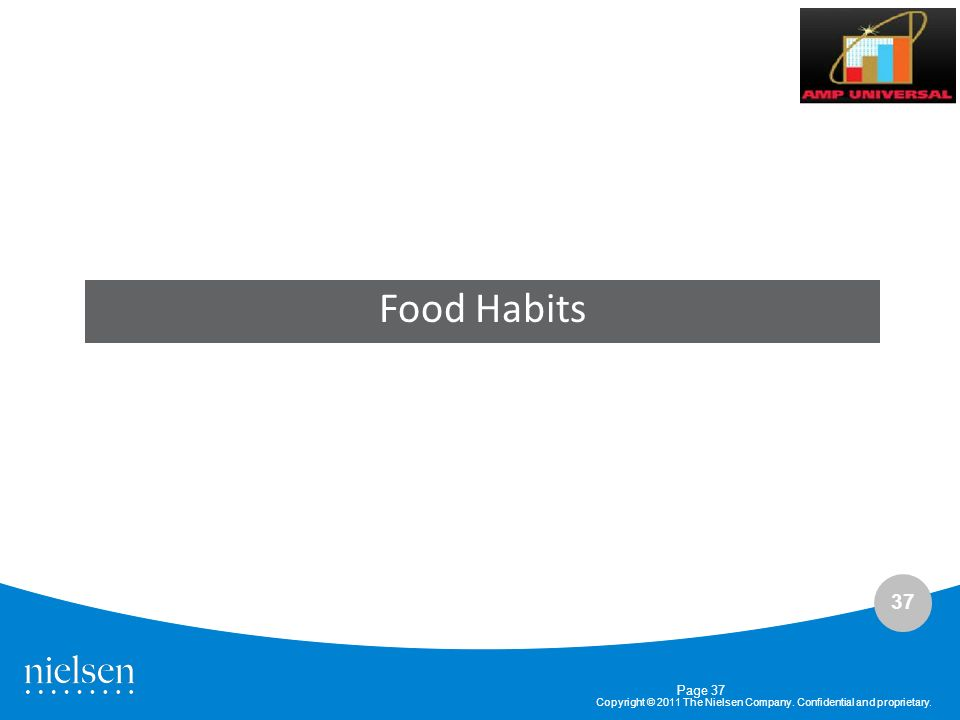 37 Copyright © 2011 The Nielsen Company. Confidential and proprietary. Page 37 Food Habits