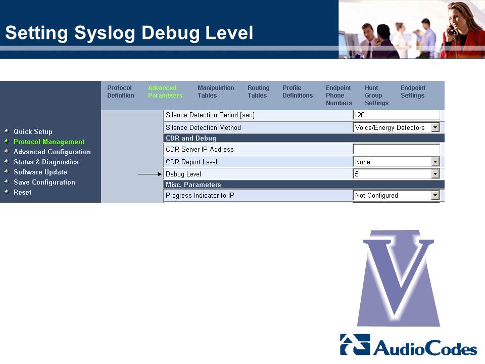 Setting Syslog Debug Level