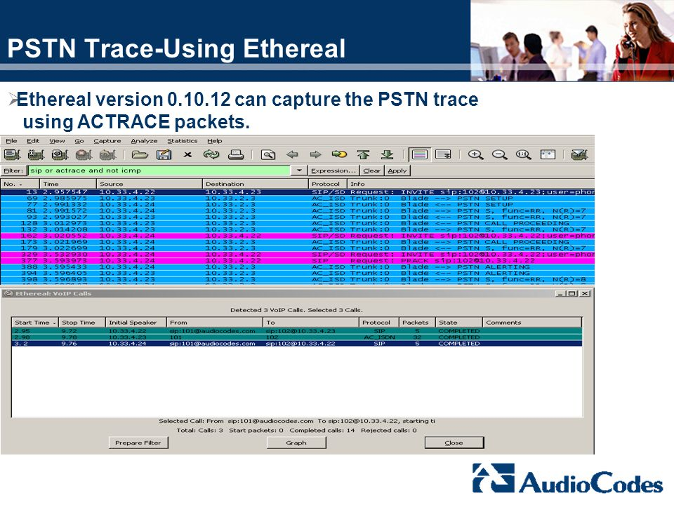 PSTN Trace-Using Ethereal Ethereal version 0.10.12 can capture the PSTN trace using ACTRACE packets.