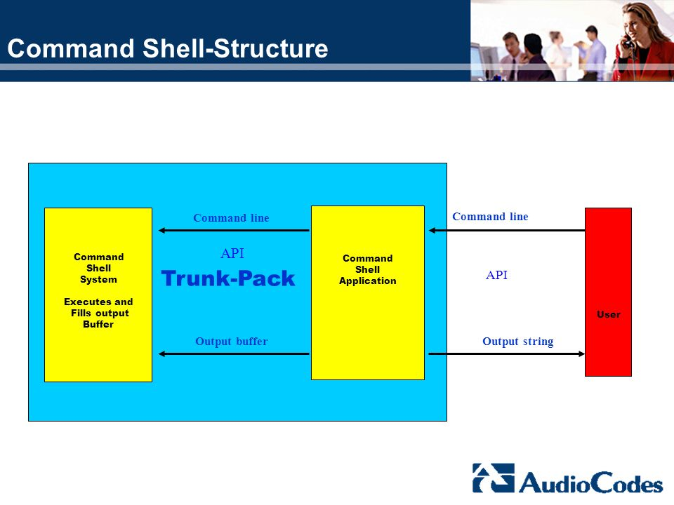 Command Shell-Structure User Trunk-Pack Command Shell Application Command line Output string Command Shell System Executes and Fills output Buffer Out
