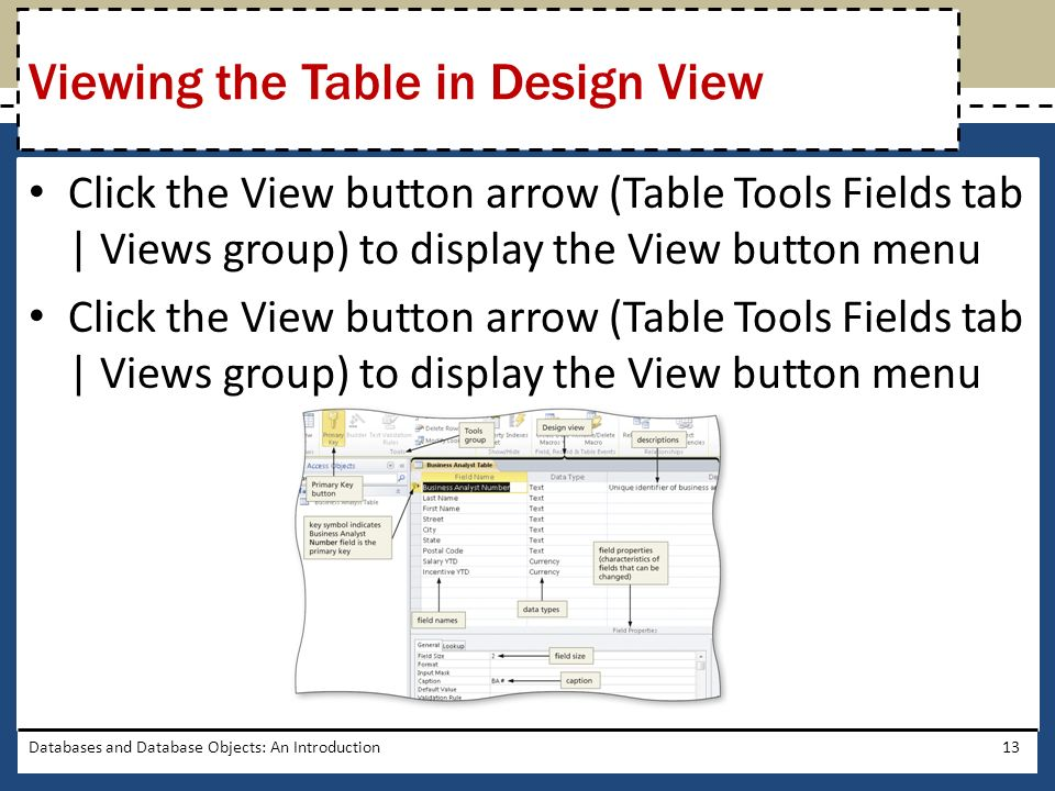 Click the View button arrow (Table Tools Fields tab | Views group) to display the View button menu Databases and Database Objects: An Introduction13 V