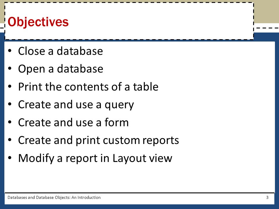 Databases and Database Objects: An Introduction4 Project – Database Creation