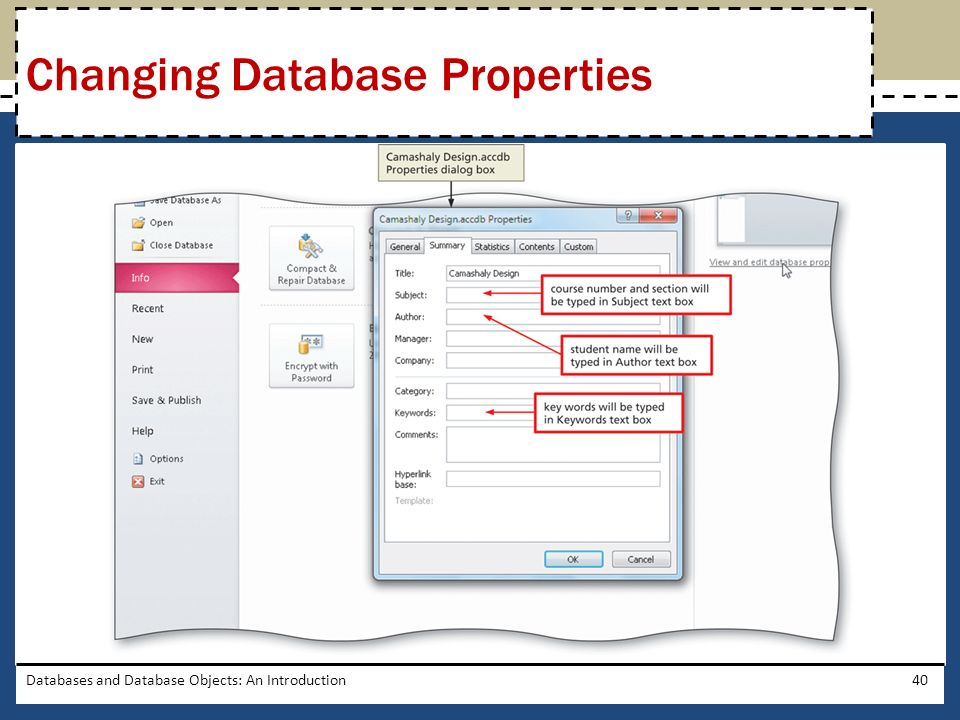 Databases and Database Objects: An Introduction40 Changing Database Properties