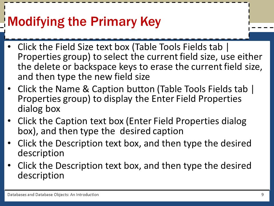 Databases and Database Objects: An Introduction10 Modifying the Primary Key