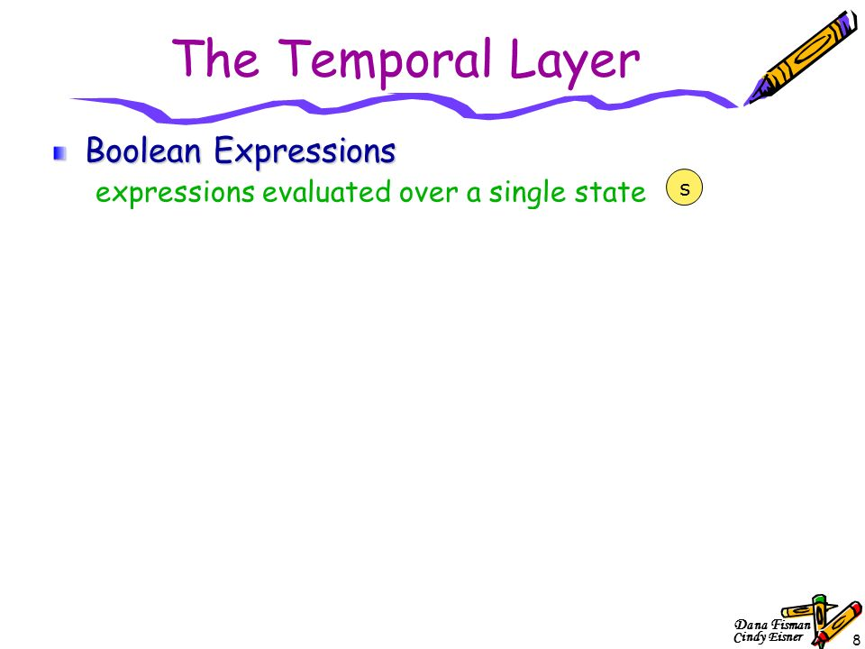 D ana F isman Cindy Eisner 8 The Temporal Layer Boolean Expressions expressions evaluated over a single state Sugar Extended Regular Expressions (SERE) expressions evaluated over a bounded sequence of states Sugar Foundation Language expressions evaluated over finite or infinite sequence of states Optional Branching Extension (OBE) expression evaluated over infinite trees of states (relevant for formal verification only) s s1s1 s2s2 s3s3 s4s4 s1s1 s2s2 s3s3 s4s4 … s5s5 s6s6 s7s7