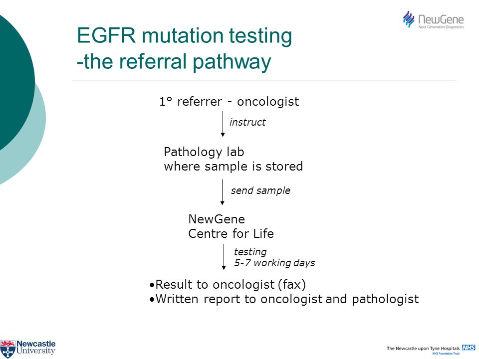 EGFR mutation testing -the referral pathway 1° referrer - oncologist Pathology lab where sample is stored instruct send sample NewGene Centre for Life