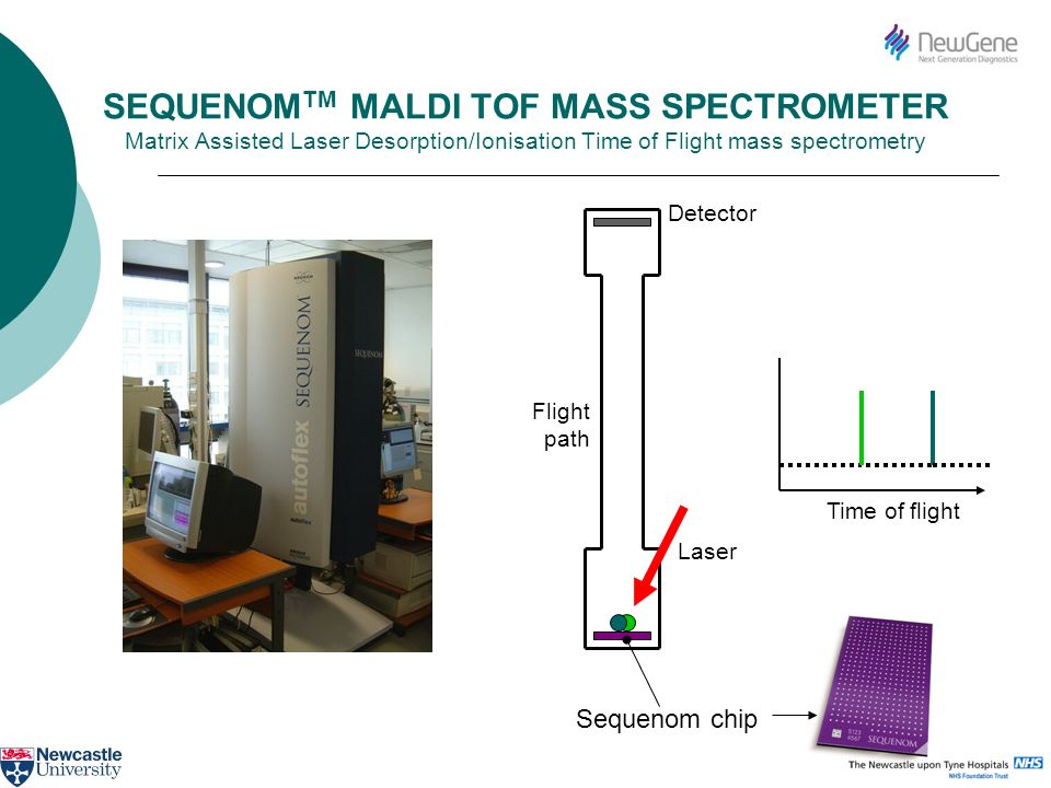 SEQUENOM TM MALDI TOF MASS SPECTROMETER Matrix Assisted Laser Desorption/Ionisation Time of Flight mass spectrometry Laser Flight path Detector Time o