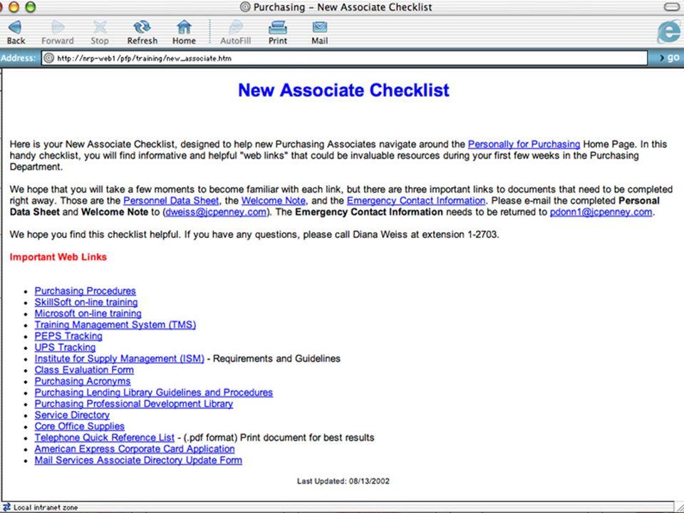 New Associate Checklist
