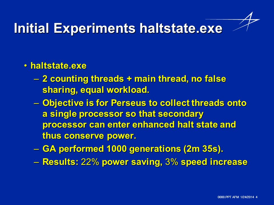 0000.PPT AFM 1/24/ Initial Experiments haltstate.exe haltstate.exehaltstate.exe –2 counting threads + main thread, no false sharing, equal workload.