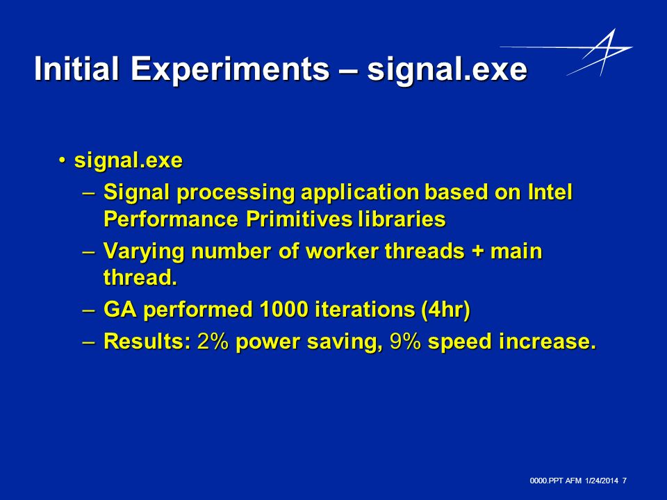 0000.PPT AFM 1/24/ Initial Experiments – signal.exe signal.exesignal.exe –Signal processing application based on Intel Performance Primitives libraries –Varying number of worker threads + main thread.