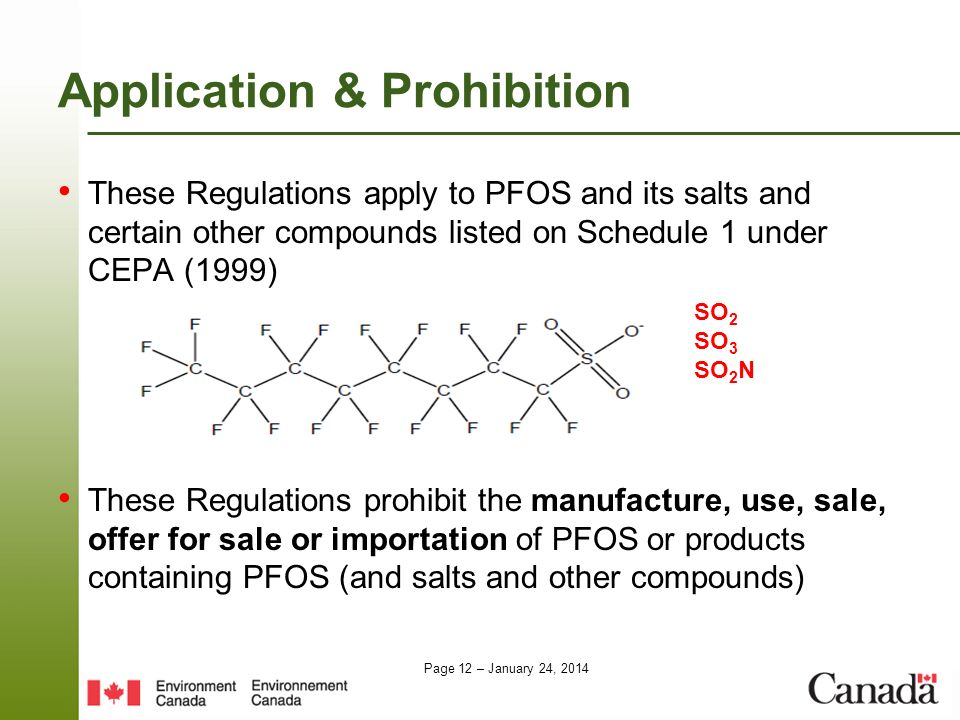 Page 12 – January 24, 2014 Application & Prohibition These Regulations apply to PFOS and its salts and certain other compounds listed on Schedule 1 un