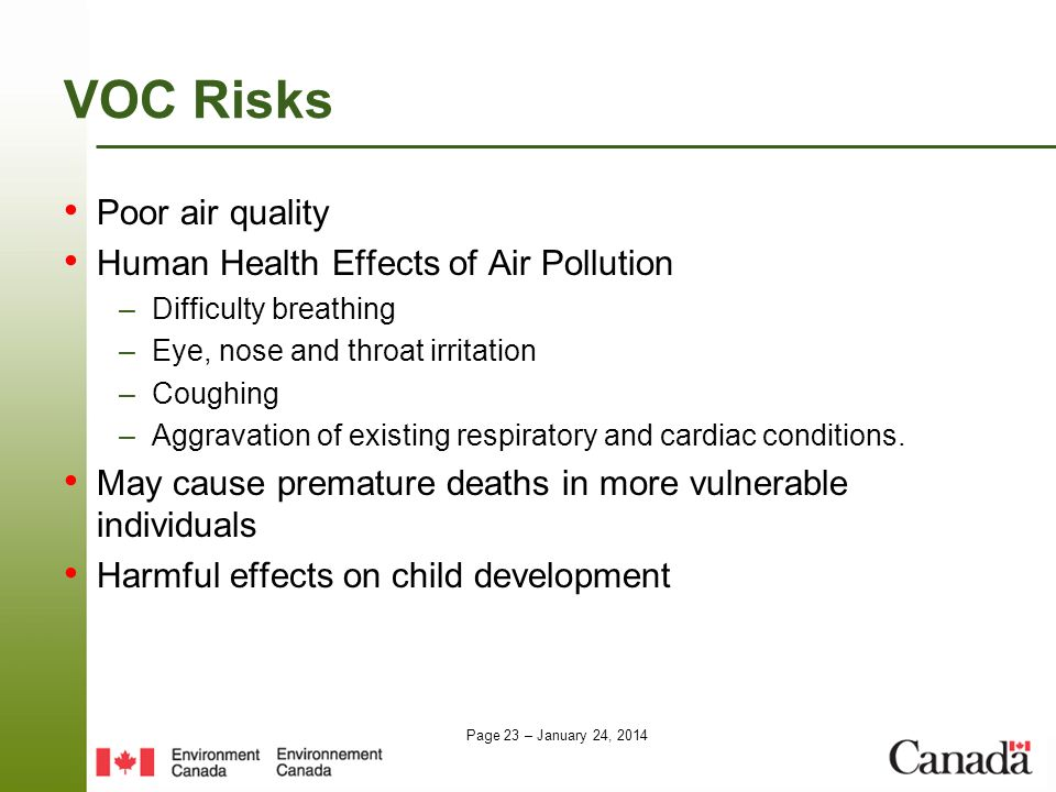 Page 23 – January 24, 2014 VOC Risks Poor air quality Human Health Effects of Air Pollution –Difficulty breathing –Eye, nose and throat irritation –Co