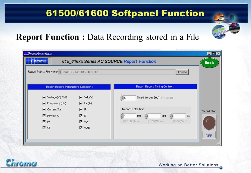 Report Function : Data Recording stored in a File 61500/61600 Softpanel Function