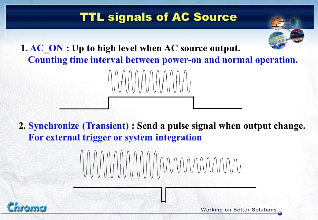 TTL signals of AC Source 1. AC_ON : Up to high level when AC source output. Counting time interval between power-on and normal operation. 2. Synchroni
