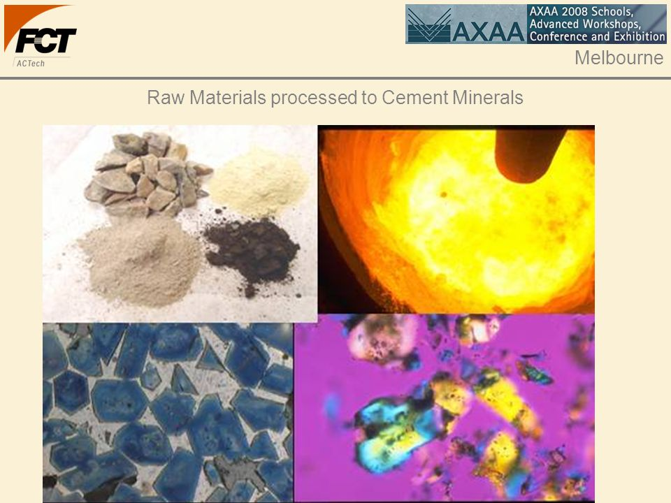 Raw Materials processed to Cement Minerals