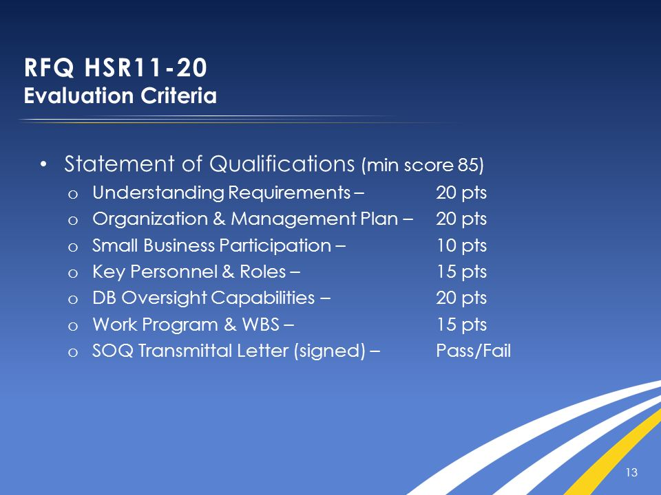 Statement of Qualifications (min score 85) o Understanding Requirements – 20 pts o Organization & Management Plan – 20 pts o Small Business Participat