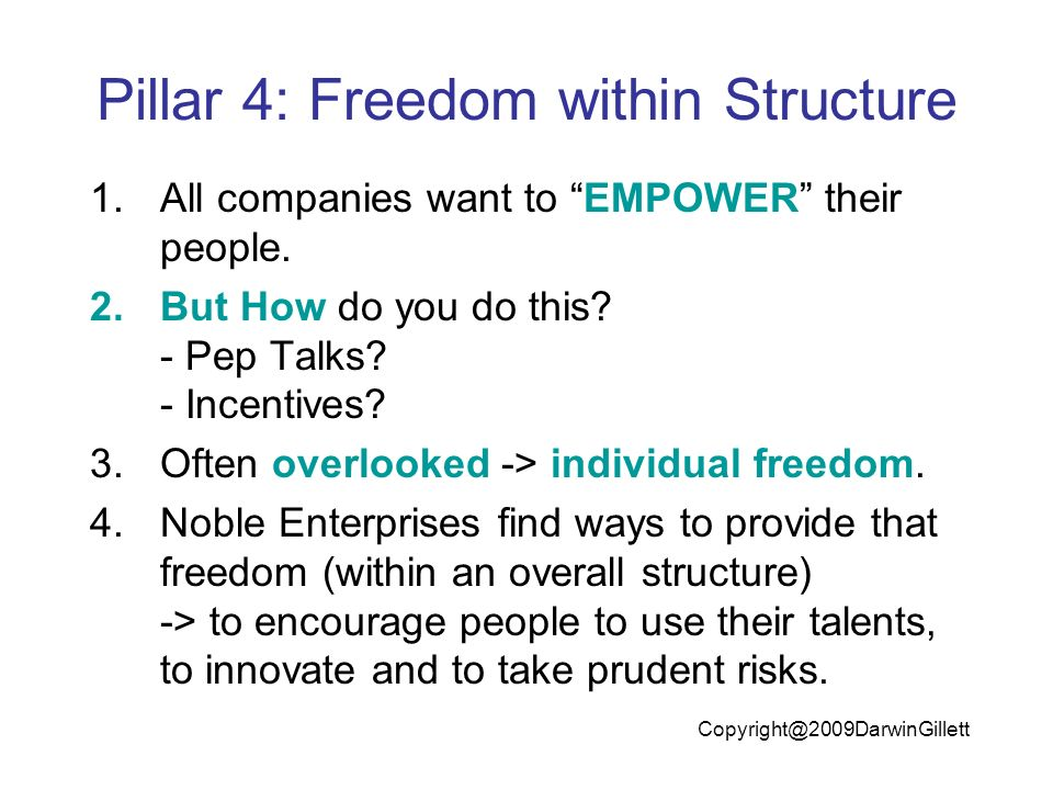 Pillar 4: Freedom within Structure 1.All companies want to EMPOWER their people.