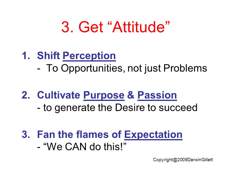 Copyright@2009DarwinGillett 3. Get Attitude 1.Shift Perception - To Opportunities, not just Problems 2.Cultivate Purpose & Passion - to generate the D