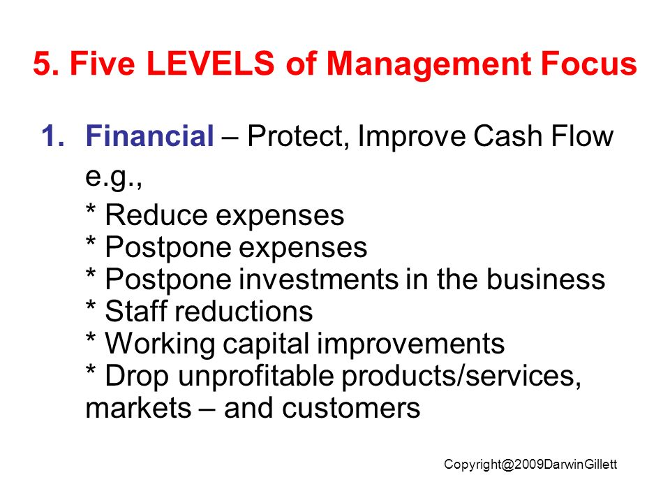 Copyright@2009DarwinGillett 5. Five LEVELS of Management Focus 1.Financial – Protect, Improve Cash Flow e.g., * Reduce expenses * Postpone expenses *