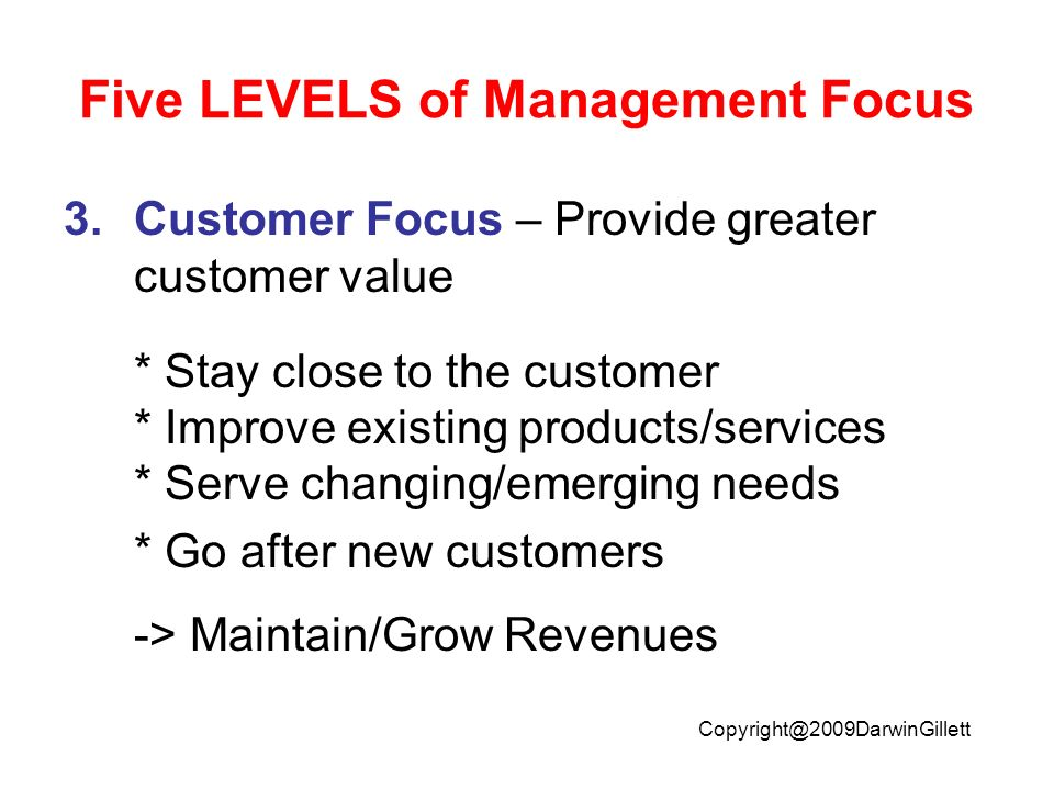 Five LEVELS of Management Focus 3.Customer Focus – Provide greater customer value * Stay close to the customer * Improve existing products/services * Serve changing/emerging needs * Go after new customers -> Maintain/Grow Revenues