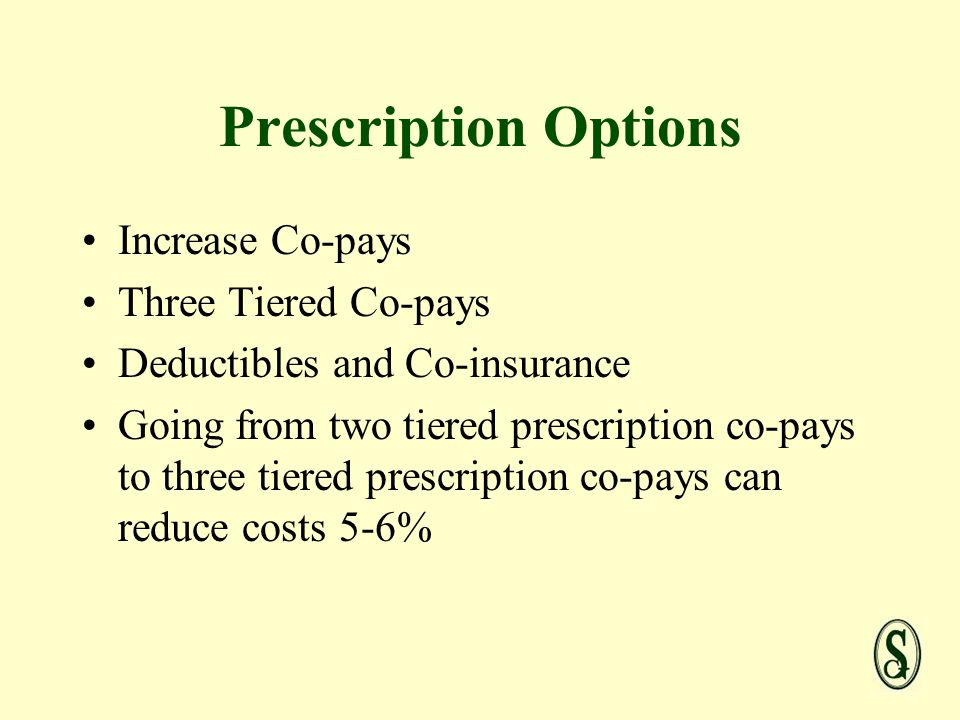 Prescription Options Increase Co-pays Three Tiered Co-pays Deductibles and Co-insurance Going from two tiered prescription co-pays to three tiered prescription co-pays can reduce costs 5-6%