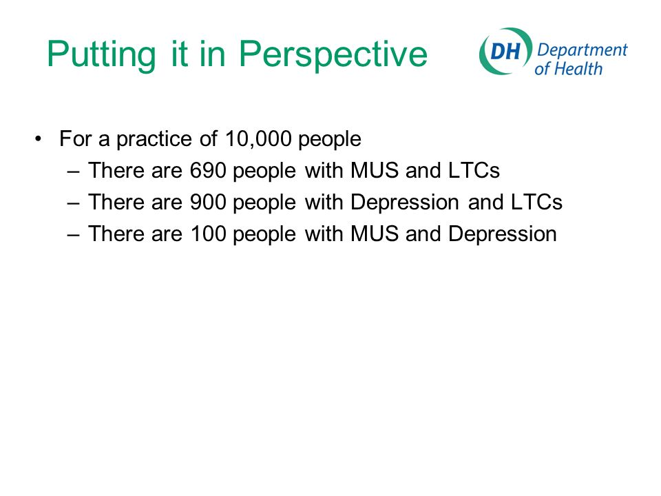 Putting it in Perspective For a practice of 10,000 people –There are 690 people with MUS and LTCs –There are 900 people with Depression and LTCs –There are 100 people with MUS and Depression