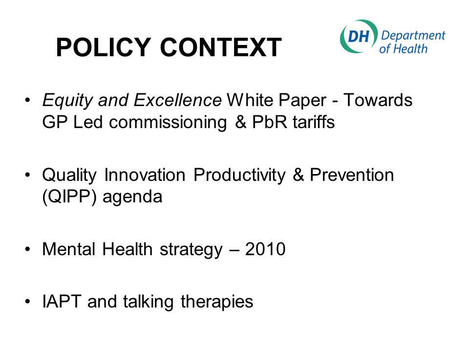 THE CONTEXT IS RAPIDLY EVOLVING, COMPLEX, AND INCLUDES: White Paper Public Health Social Care Carers a new Public Health Service, with a White Paper in December 2010; a new Vision for Social Care, with ambitions for greater independence and choice for users of social care.
