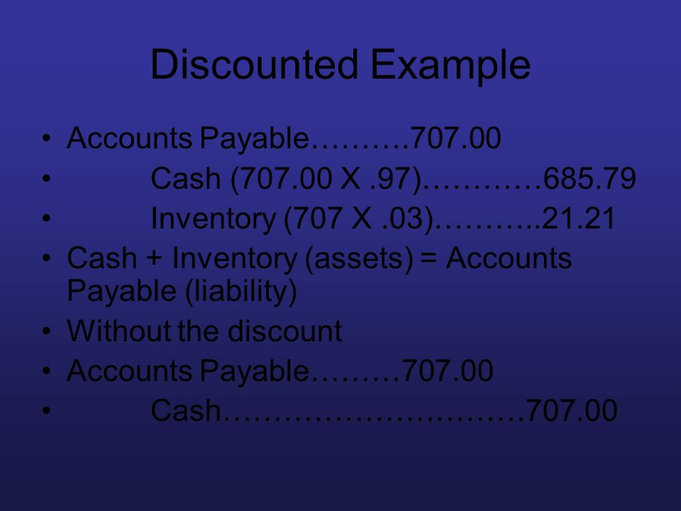 Discounted Example Accounts Payable……….707.00 Cash (707.00 X.97)…………685.79 Inventory (707 X.03)………..21.21 Cash + Inventory (assets) = Accounts Payable