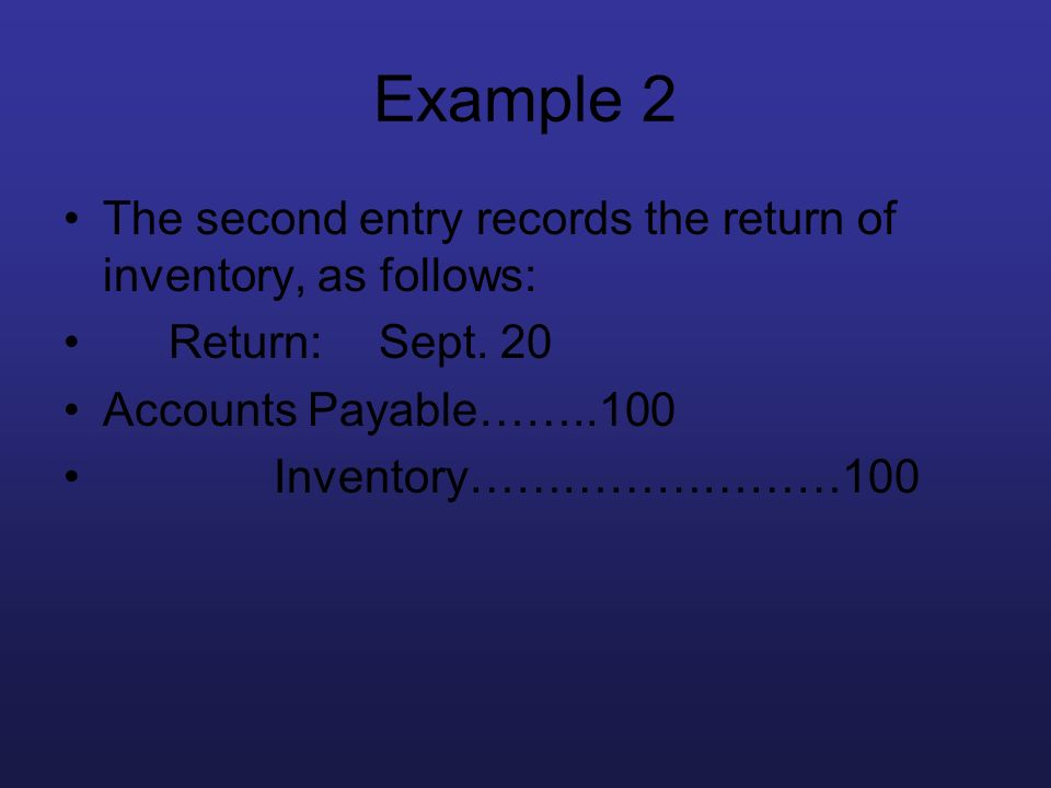 Example 2 The second entry records the return of inventory, as follows: Return:Sept. 20 Accounts Payable……..100 Inventory……………………100