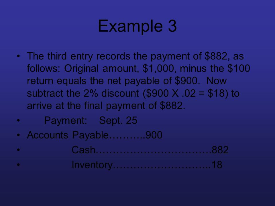 Example 3 The third entry records the payment of $882, as follows: Original amount, $1,000, minus the $100 return equals the net payable of $900. Now