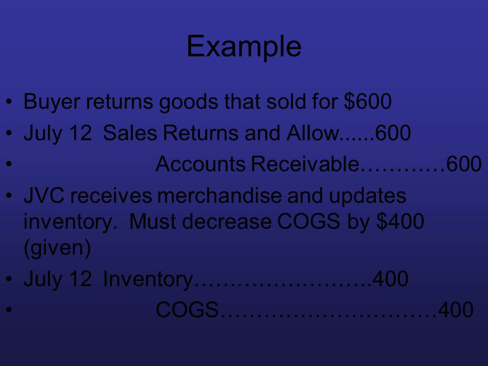 Example Buyer returns goods that sold for $600 July 12Sales Returns and Allow......600 Accounts Receivable…………600 JVC receives merchandise and updates