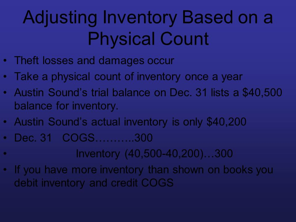 Adjusting Inventory Based on a Physical Count Theft losses and damages occur Take a physical count of inventory once a year Austin Sounds trial balanc