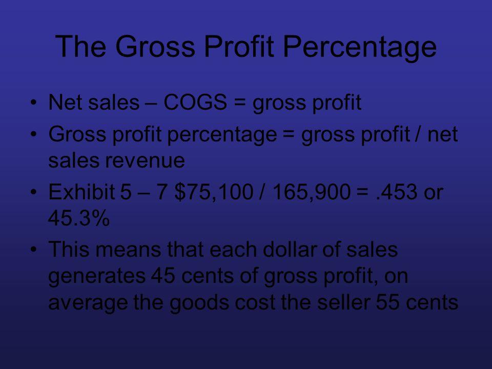 The Gross Profit Percentage Net sales – COGS = gross profit Gross profit percentage = gross profit / net sales revenue Exhibit 5 – 7 $75,100 / 165,900
