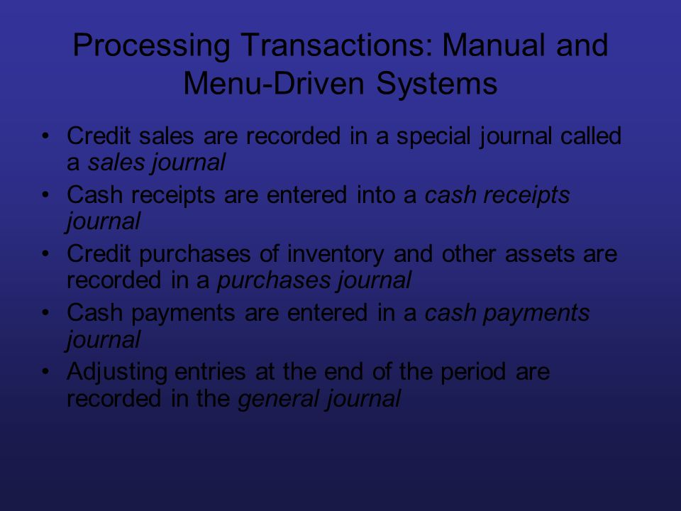 Processing Transactions: Manual and Menu-Driven Systems Credit sales are recorded in a special journal called a sales journal Cash receipts are entere