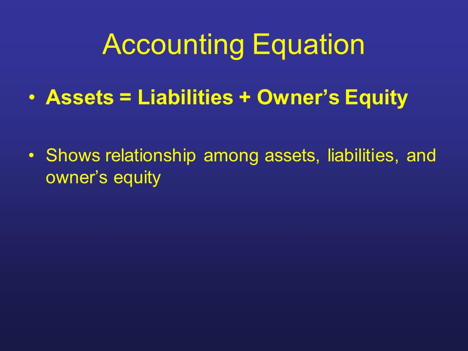 Accounting Equation Assets = Liabilities + Owners Equity Shows relationship among assets, liabilities, and owners equity