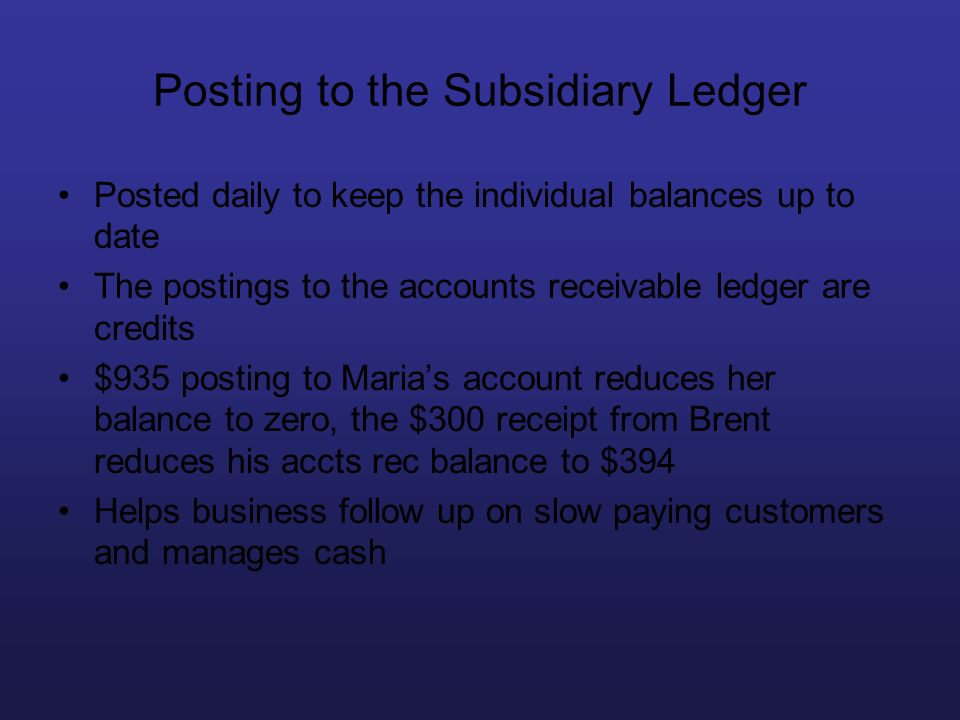 Posting to the Subsidiary Ledger Posted daily to keep the individual balances up to date The postings to the accounts receivable ledger are credits $9