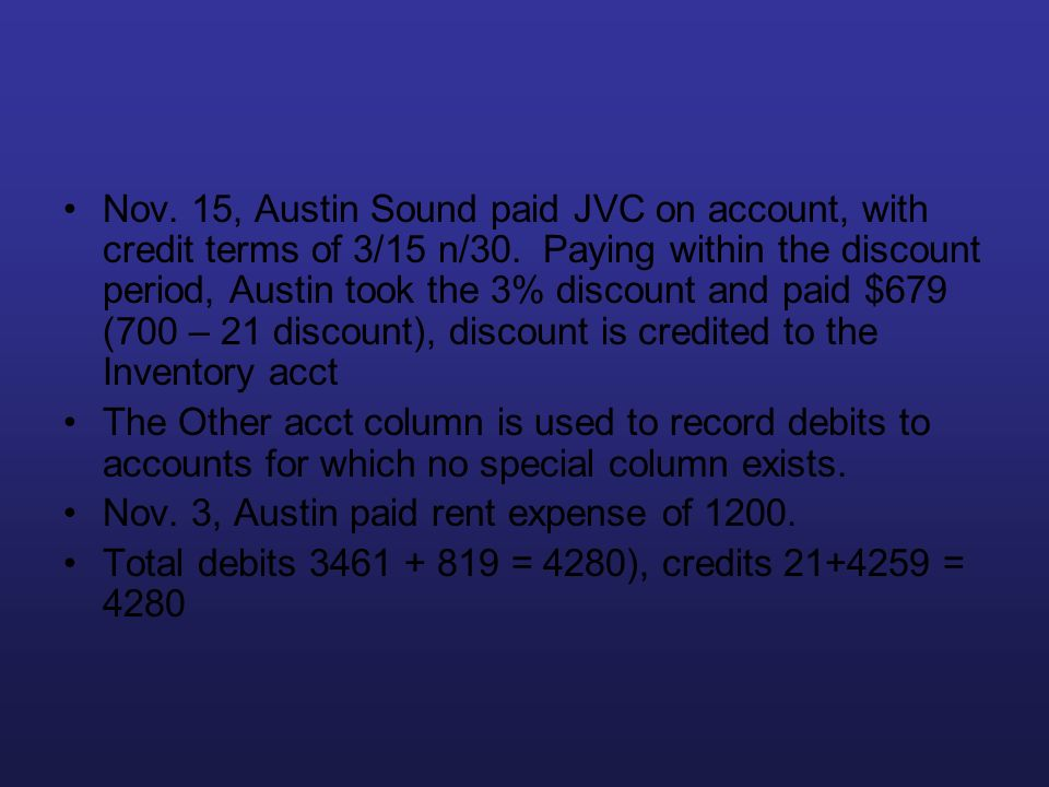Nov. 15, Austin Sound paid JVC on account, with credit terms of 3/15 n/30. Paying within the discount period, Austin took the 3% discount and paid $67
