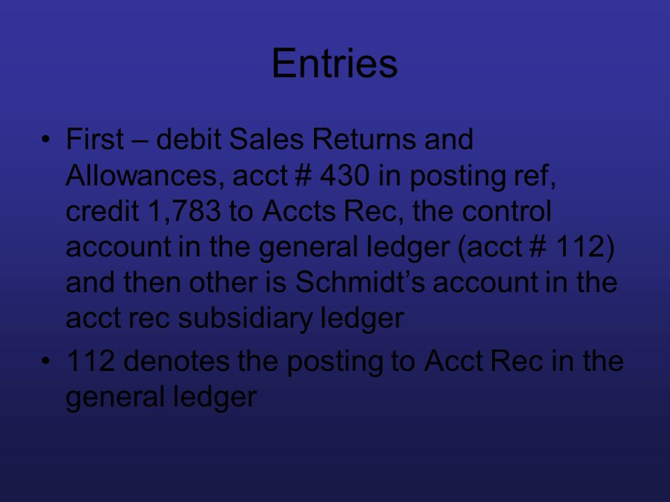 Entries First – debit Sales Returns and Allowances, acct # 430 in posting ref, credit 1,783 to Accts Rec, the control account in the general ledger (a