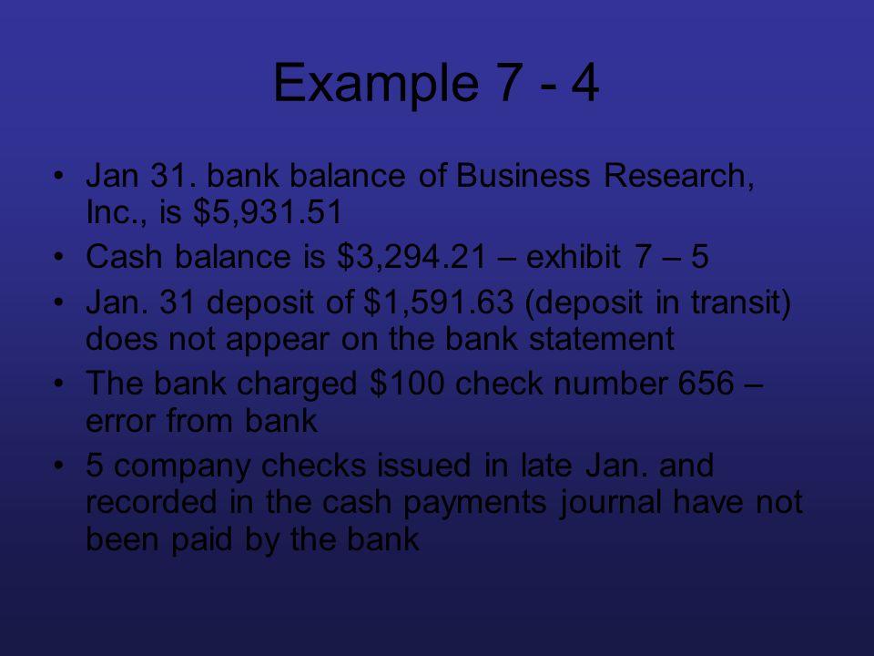 Example 7 - 4 Jan 31. bank balance of Business Research, Inc., is $5,931.51 Cash balance is $3,294.21 – exhibit 7 – 5 Jan. 31 deposit of $1,591.63 (de