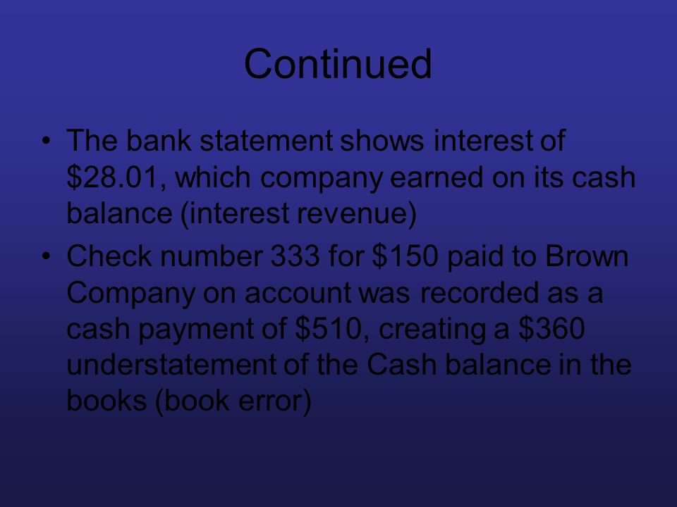 Continued The bank statement shows interest of $28.01, which company earned on its cash balance (interest revenue) Check number 333 for $150 paid to B