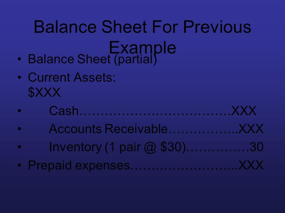 Balance Sheet For Previous Example Balance Sheet (partial) Current Assets: $XXX Cash………………………………XXX Accounts Receivable……………..XXX Inventory (1 pair @